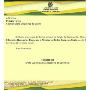 Ofício de Confirmação da presença do Sr. Ministro da Saúde - Dr. Arthur Chioro